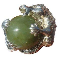 Green Round Jade Dragon Ring