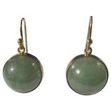 Moss Green Round Cabochon Jade Gold Dangle Earrings