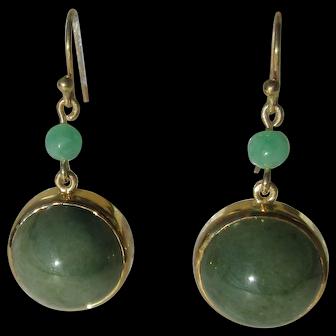9 kt Gold Burmese Jade Dangle Earring