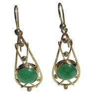 9 kt Yellow Gold Dangle Round Jade Cabochon and Diamond Earrings