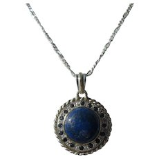 Round Lapis Lazuli Sterling Pendant with Chain