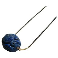 Carved Lapis Lazuli Asian Theme Pendant with 10kt Gold Chain