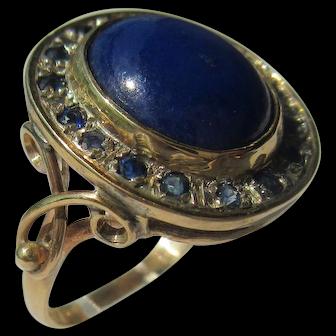 Lapis Lazuli and Sapphire Gold Ladies Ring