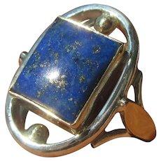 Square Lapis Lazuli Sterling Silver/9kt Yellow Gold Ladies Ring
