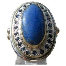 Large Oval Lapis Lazuli and Multi Sapphire Ladies Ring