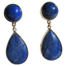 14 kt Yellow Gold Round and Faceted Tear Drop Lapis Lazuli Dangle Earrings
