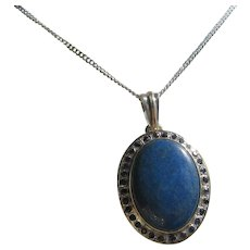 Lapis Lazuli and Multi Sapphire Silver Pendant with Necklace