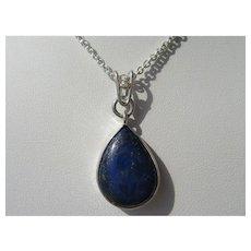 Lapis Lazuli and Diamond Pendant with Chain