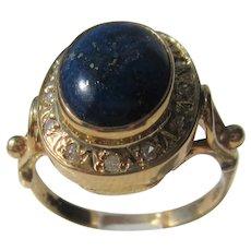 9 kt Yellow Gold Lapis Lazuli and Diamond Ladies Ring