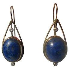 10 kt Yellow Gold Oval Lapis Lazuli and Diamond Dangle Earring