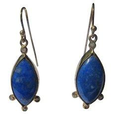 10 kt Ocular Shape Lapis lazuli and Diamond Dangle Earrings