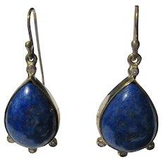 Pear Shape Lapis Lazuli and Diamond Dangle Earring