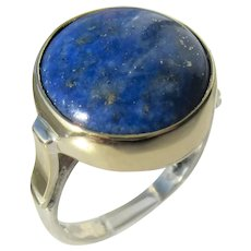 Sterling Silver and 9 kt Yellow Gold Round Lapis Lazuli Ladies Ring