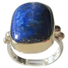Sterling Silver /9kt Gold Rectangular Lapis Lazuli Ring