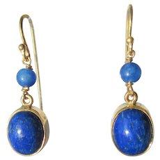 Dangle 10kt Gold Lapis Lazuli Earrings