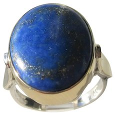 Oval Lapis Lazuli Sterling Silver and Gold Ladies Ring