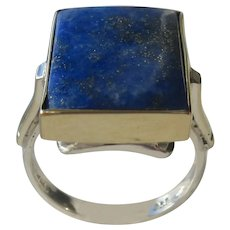 Rectangular Ladies Sterling and 9kt Gold Ring