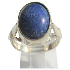 Sterling Silver  Oval Lapis Lazuli Ladies Ring