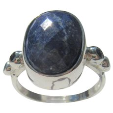 Sterling Silver Oval Faceted Lapis Lazuli and Multi Sapphire Ladies Ring