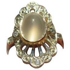 Sterling Silver/14kt Gold Moonstone and Cubic Zirconia Ladies Ring