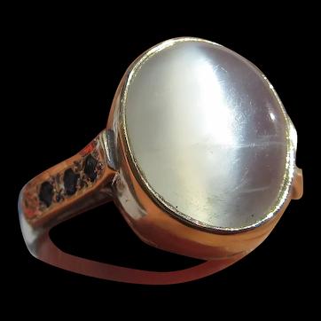 Light Grey Moonstone and Sapphire Ladies Ring