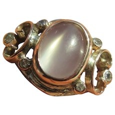 Sterling/Pink Gold Grey Moonstone and Diamond Ring