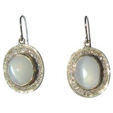 Moonstone and Diamond Gold/Silver Dangle Earrings