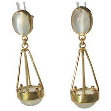 Dangling Double Moonstone Earrings in 9 kt Gold