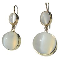 14kt Yellow Gold Oval and Round Grey Double Moonstone Dangle Earrings French Wire Closure