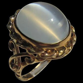 Smokey Grey Oval Moonstone Gold Ring