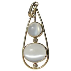 14 kt Yellow Gold Round and Oval Grey Moonstone & Diamond Tear Drop Pendant