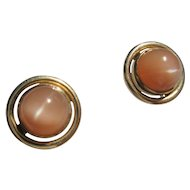 14 kt Yellow Gold Peach Moonstone Stud Earrings Post and Butterfly Closure