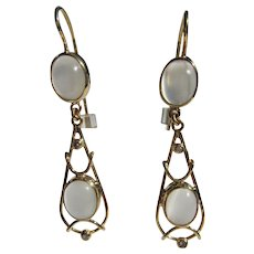 9 kt Yellow Gold Double Moonstone and Diamond Dangle Earrings