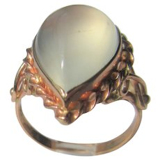9 kt Pink Gold Smokey Grey Pear Shape Moonstone Ladies Ring