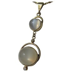 9 kt Gold Round Grey Double Moonstone and Diamond Pendant