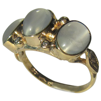 Triple Oval Grey Moonstone and Diamond Gold Ring