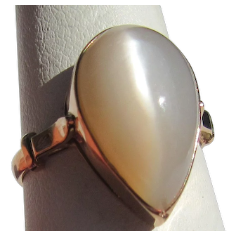 Pear Shape Moonstone 9 kt Pink Gold Ladies Ring