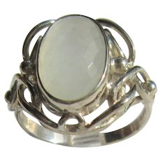 Sterling Silver  Oval Cushion Cut Light Grey Rainbow Moonstone Ladies Ring