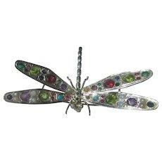 Sterling Silver Gemstone Dragonfly Brooch