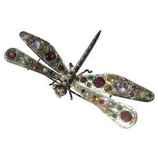 Multi Gemstone Dragon Fly Sterling Silver Brooch