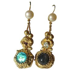 Dangle Gemstone Slide Earrings