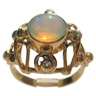9kt Yellow Gold Fiery Opal and Multi Diamond Ladies Ring