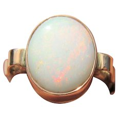 Fiery Oval Opal Ladies Ring Sterling Silver with 9 kt Pink Gold