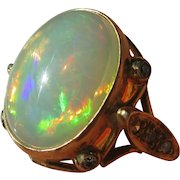 Fire on Fire Opal and Diamond Ladies Ring in 9kt Gold