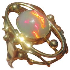 Fiery Inferno Opal Ladies Gold Ring