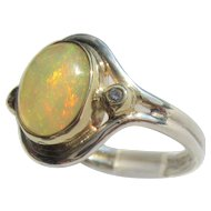Sterling Silver and 9 kt Yellow Gold Fiery Opal and Diamond Ladies Ring