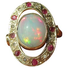 9 kt Yellow Gold Fiery Opal and Ruby/Diamond Ladies Ring