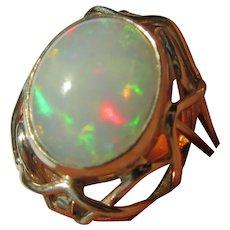 Fiery Oval Opal Gold Ladies Ring