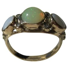 14 kt Triple Opal and Diamond Ladies Ring