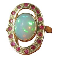 Oval Fiery Opal and Multi Ruby Gold Ladies Ring